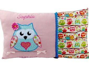 Individualisiertes Namenskissen mit Eule in rosa für Mädchen ein tolles Geschenk zur Taufe oder Geburt