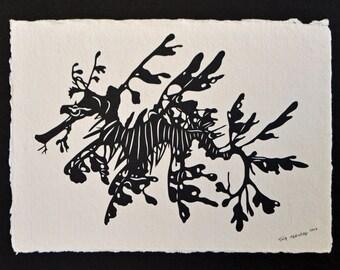 Leafy Seadragon - Hand-Cut Silhouette Papercut