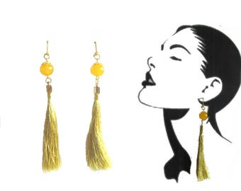 Gold Tassel Earrings, Yellow Round Amber beads, gold color hook clasp and tassel caps, girls, women, party, original, long