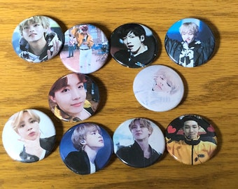 BTS-KPOP 1.5 inch Pinback Button Badge set of 10 -NEW!!