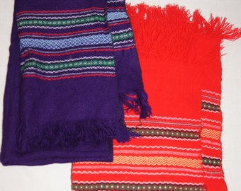 Vintage 1980's - Set of two scarves, red and purple