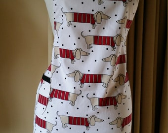 Apron cotton red black white polka dots dachshund dog Cotton Barbecue apron Ready to ship