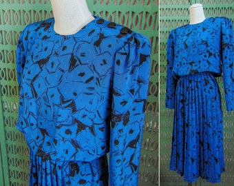 80s Secretary Dress Blue & Black Pleated Dress Long Sleeve Dress Midi Dress Shoulder Pads by Alexis