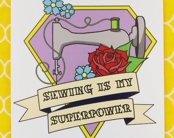 Sewing is my superpower A6 print/postcard. Tattoo inspired vintage sewing machine design