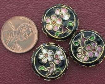 three 19mm floral flat round cloisonne bead