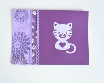 Card mauve cat for birth / birthday / congratulations