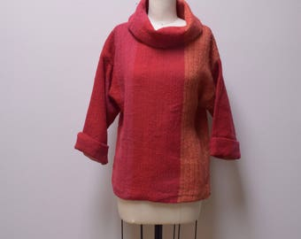 VINTAGE KUNGSHOL for STOCKHOLMIA Handloomed Wool Popover Boxy Top Tunic Size S/M