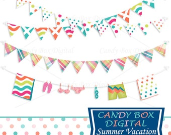 Summer Vacation Bunting Clipart, Beach Border Clip Art - Commercial Use OK