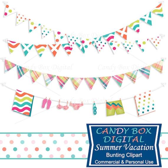 summer vacation bunting clipart beach border clip art commercial rh etsystudio com beach ball border clip art Summer Beach Clip Art
