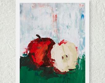 Apple Decor, Red Apple Print, Kitchen Art Print, Fine Art Print, Small Art Print, Palette Knife Art, Abstract Print, Original Art Print