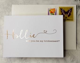 Will you be my Bridesmaid   Rustic Bridesmaid custom bride squad card, Bridesmaid proposal, perfect bridesmaid gift, Rose gold bridesmaid