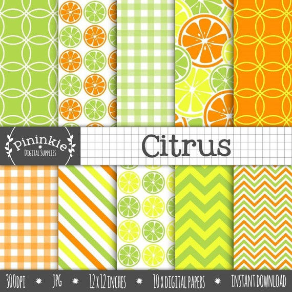 Digital Scrapbook Paper Citrus Digital Paper Pack Summer