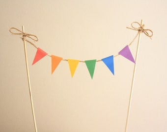 Mini Cake Bunting / Banner (Bright Colours) - Instant Download - Make your own cute bunting banner as a cake topper!