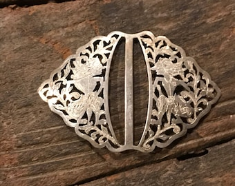 Unique vintage 800 silver filigree etched belt buckle with unusual fairytale-like characters, caricatures