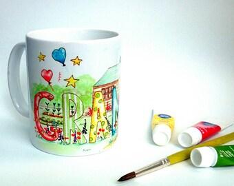 Grandad Mug  Watercolour Art Fathers day Birthday Grandad Garden Mug Grandads Shed Mug
