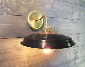 Black Vinyl Record Wall Sconce - Reused Plastic Industrial Wall Mount Light