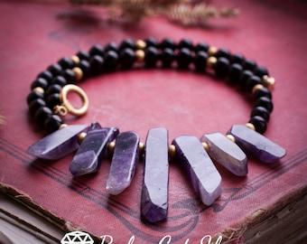Shungite and raw Amethyst necklace in boho style EMF protection Shungite jewelry Energy crystal Root chakra pendant Shungite healing crystal