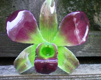 Free Shipping REAL Natural Magenta Purple, Radiant Orchid and Green ORCHID Pin and Pendant