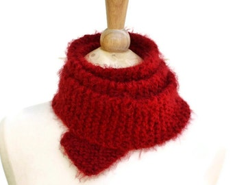 Chunky knit scarf, boho skinny scarf, knit red scarf, thin long scarf, red boho scarf, gift for her, womens scarf, winter scarf