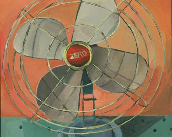 Vintage Zero Fan Oil Painting // Vintage Electric Fan // Retro Fan // Midcentury Modern Fan