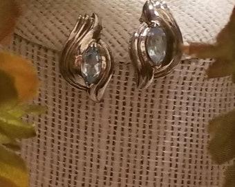 Classic Blue Topaz Earrings, Birthstone Earrings, Blue Topaz Stud Earrings, Sterling Silver Post Earrings, Birthstone Topaz, Marquis Stone