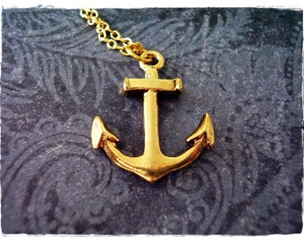 Large Gold Anchor Necklace - Antique Gold Pewter Anchor Charm on a Delicate Gold Plated Cable Chain or Charm Only