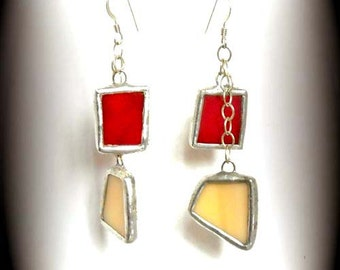 Stained Glass And Sterling Silver Earrings