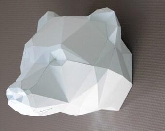 Trophée animal en papier. Sculpture Ours en KIT DIY. Ours polaire.
