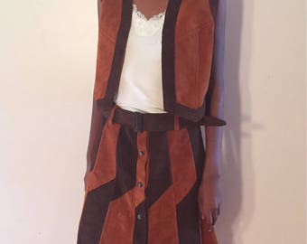 70's Suede two tone patch skirt and vest