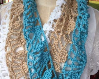 Lacy Fall Cowl--Ready to Ship-- Aqua, Tan, and White