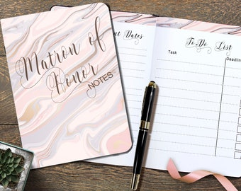 Matron of Honor Notebook, A5 Matron of Honor Planner,Cute Wedding Notebooks for Bridal Party, Matron of Honor Box Gift for Wedding Party