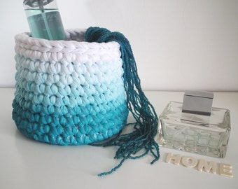Crochet Storage Basket, Blue Green Ombre Basket, Small Planter, Organizer Basket, Bath Storage, Gift for Her, Modern Cosmetic Makeup Storage