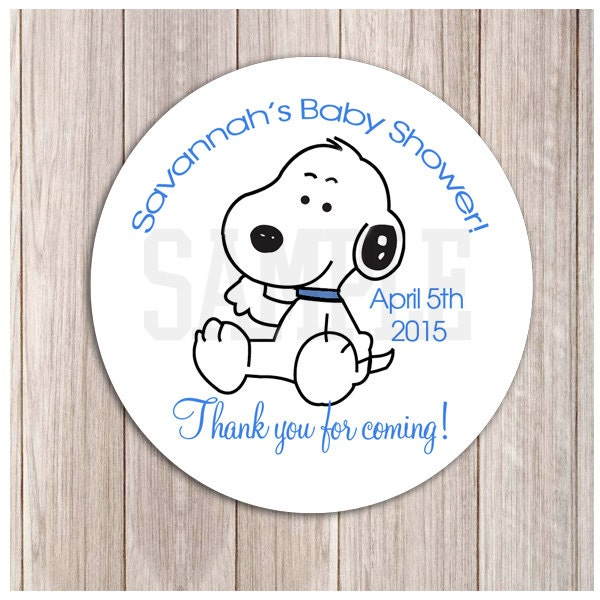 Nice Snoopy Baby Shower Invitations Baby Snoopy Boy Shower Or Birthday Favor  Stickers On Snoopy Baby Shower