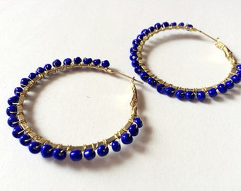 Blue Hoop Earrings,Large gold hoop Earrings,Belly Dancers Earrings,boho Earrings,bohemian jewelry by Taneesi