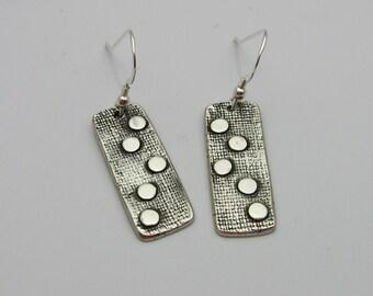 Silver Dangle Earrings, Silver Polka-Dot Earrings, Handmade Silver Earrings, Long Silver Earrings, Long Dangle Earrings, Polka Dot Ear