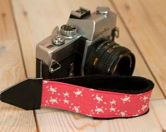 Camera Wrist Strap - DSLR Camera Strap - Sea Turtle Gift - Padded Camera Strap - Camera Accessories - Nikon Strap - Canon - Tiny Pink Turtle