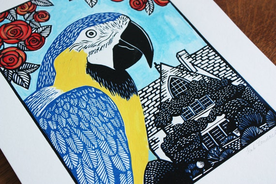 Rodney the Parrot, Blue and Gold Macaw, Original Linocut Print, Signed Limited Edition of 6, Free Postage in UK, Hand Pulled, Printmaking,