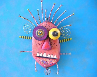 Jimmy Monster, Original Found Object Wall Sculpture, Wood Carving, Wall Decor, Unique Gift, Painted Sculpture, by Fig Jam Studio
