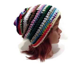Rainbow Beanie, Upcycled Beanie, Scrap Yarn Hat, Rainbow Striped Hat, Boho Slouchy Hat, Hipster Beanie, Random Color Hat, Festival Hat