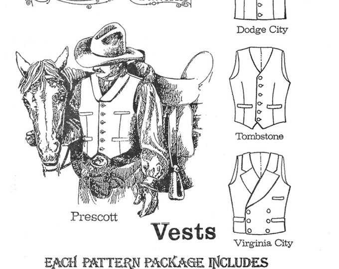 "Featured listing image: Men's Cowboy Western Vest in 4 Styles Sizes 34-58"" Chest - Buckaroo Bobbins Sewing Pattern"