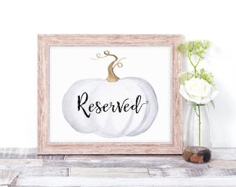 Wedding Reserved Sign - Pumpkin Wedding Decor - Fall Wedding - White