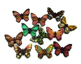25 Mixed Butterfly Wooden Buttons, Children Buttons, Craft Wooden Buttons, 2 Hole Sew through Buttons, Scrapbooking Buttons. 1 x 0.75 inches