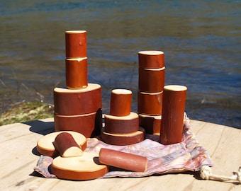 Wooden Blocks, Waldorf Inspired Imaginative Play Blocks Set of 16. Madrone Wood.