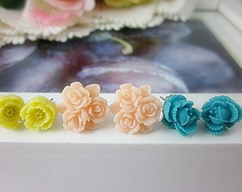 Set of 3 Flower Post Earrings. Turquoise, Yellow, Pale Pink flowers.  Gift for her.  Birthday, Christmas gifts.