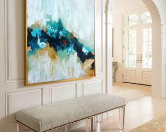 Large Original Painting Hand Made Abstract Art, Acrylic Painting on Canvas, XL large Canvas Art. Custom Extra Large Painting Green, Blue