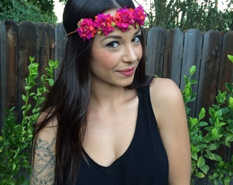Pink Tie Dyed looking Silk Flower Power Bohemian HeadBand - Flower Crown - Halo -Hippie