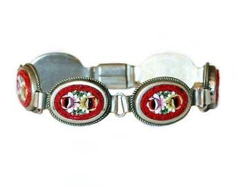 Vintage 1930's Italilan Mosaic Red Floral Bracelet