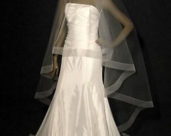 "Circular Drop veil with a 2"" horsehair edge.  Sheer wedding veil with sheer edging."