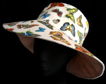 Sunhat Summer Hat Butterfly Collection Reversible Cloche  Fabric Hat