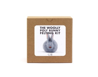 DIY Felted Bunny Kit, Woolly Poly Bunny Felting Kit, DIY Felting Kit